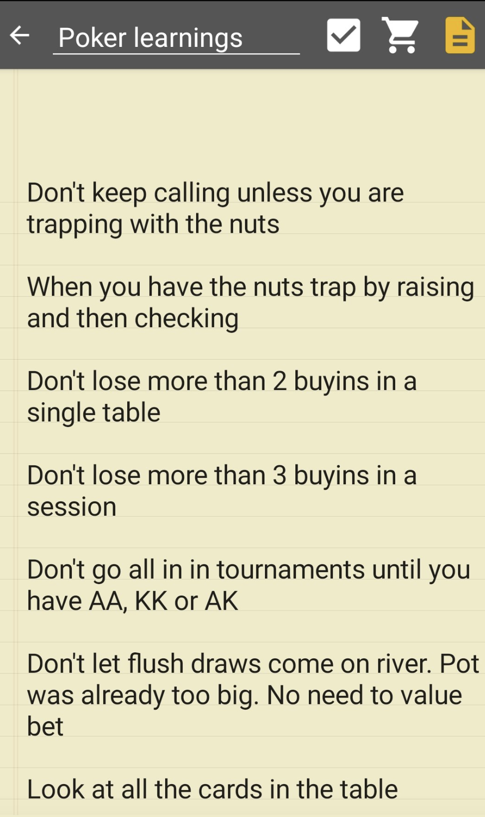 Poker learnings